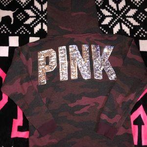 Victoria's Secret PINK Bling camo Sherpa hoodie